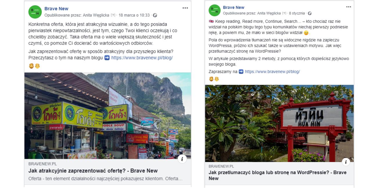 Tak wyglądają posty promujące artykuły zbloga firmowego nafanpage`u Brave New.